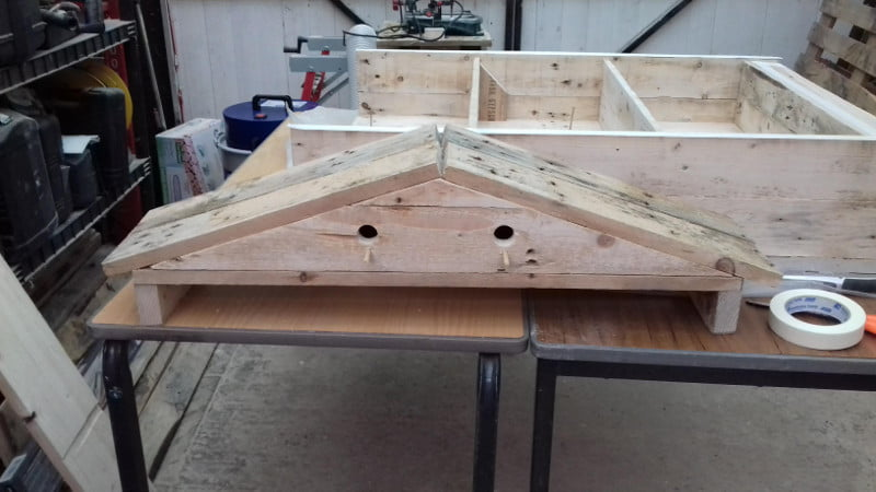 two nesting boxes created in roof