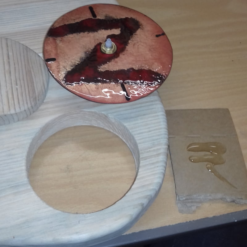 copper clock face to be glued into guitar body