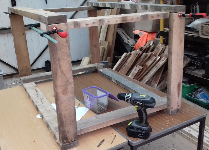 workbench frame being assembled