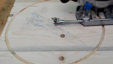 cutting out a spitfire clock face