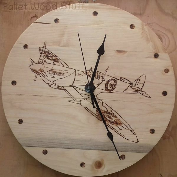 Pallet Wood Clock SPITFIRE Made to Order