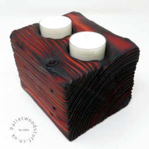 Reclaimed Wood Tealight Holder 03 | 2 Candles | Flame