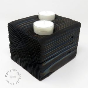 Reclaimed Wood Tealight Holder 04 | 2 Candles | Blue