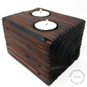 Reclaimed Wood Tealight Holder 05 | 2 Candles | Earth