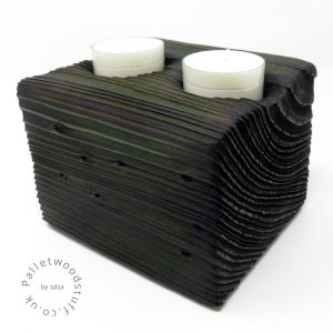 Reclaimed Wood Tealight Holder 06 | 2 Candles | Forest Green