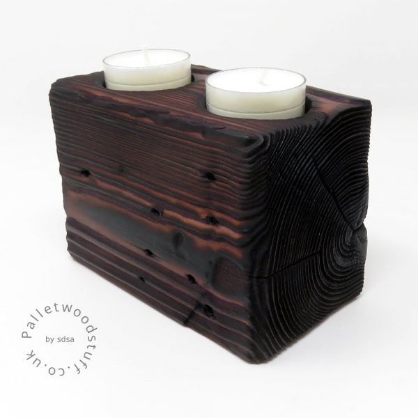 Reclaimed Wood Tealight Holder 07 | 2 Candles | Earth