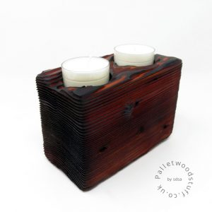 Reclaimed Wood Tealight Holder 08 | 2 Candles | Burnt Orange