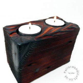 Reclaimed Wood Tealight Holder 08 | 2 Candles | Burnt Orange
