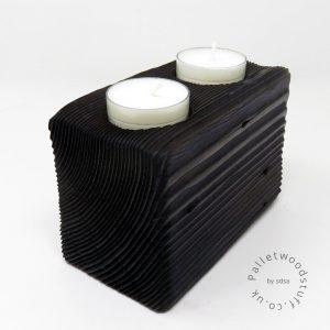 Reclaimed Wood Tealight Holder 09 | 2 Candles | Plum
