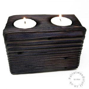 Reclaimed Wood Tealight Holder 09 | 2 Candles | Plum