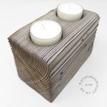 Reclaimed Wood Tealight Holder 10   2 Candles   White