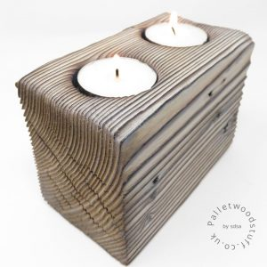 Reclaimed Wood Tealight Holder 10 | 2 Candles | White