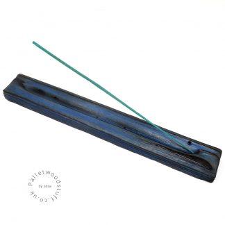 Reclaimed Wood Incense Burner 11   Sky Blue
