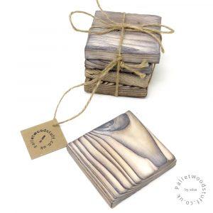 Pallet Wood Coaster 01 | Shou Sugi Ban | White
