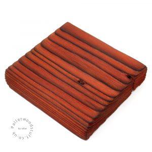 Pallet Wood Coaster 02   Shou Sugi Ban   Burnt Orange