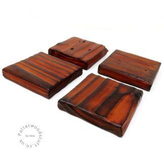 Pallet Wood Coaster 02 | Shou Sugi Ban | Burnt Orange