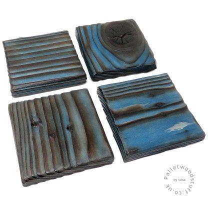 Pallet Wood Coaster 03   Shou Sugi Ban   Sky Blue