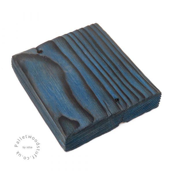 Pallet Wood Coaster 03 | Shou Sugi Ban | Sky Blue