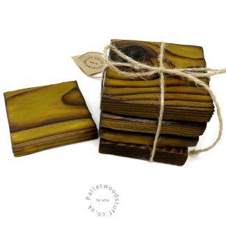 Pallet Wood Coaster 04 | Shou Sugi Ban | Pear Green
