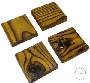 Pallet Wood Coaster 04 | Shou Sugi Ban | Pear Green