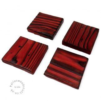 Pallet Wood Coaster 08 | Shou Sugi Ban | Ruby