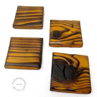Pallet Wood Coaster 09 | Shou Sugi Ban | Honey