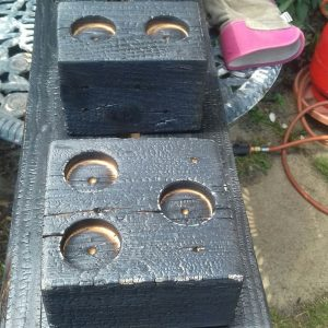 Palletwood Block Tealight Holders - After burning