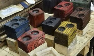 Palletwood Block Tealight Holders - dyed