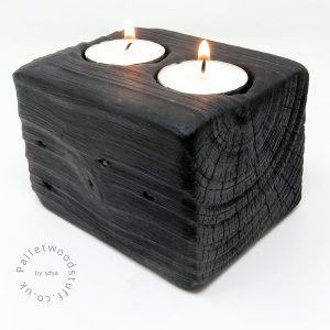 Reclaimed Wood Tealight Holder 01 | 2 Candles | Black