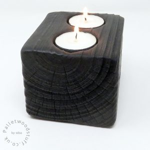 Reclaimed Wood Tealight Holder 01 | 2 Candles | Black