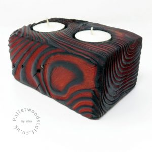 Reclaimed Wood Tealight Holder 02   2 Candles   Flame