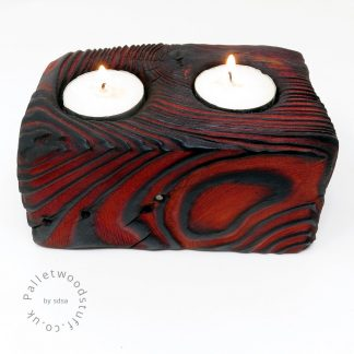 Reclaimed Wood Tealight Holder 02 | 2 Candles | Flame
