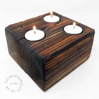 Pallet Wood Block Tealight Holder 01 | 3 Candles | Natural