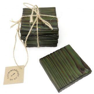 Pallet Wood Coaster 10 | Shou Sugi Ban | Forest Green