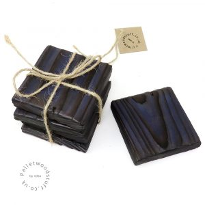 Pallet Wood Coaster 11 | Shou Sugi Ban | Midnight Blue