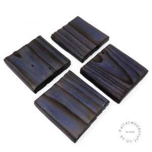 Pallet Wood Coaster 11 | Shou Sugi Ban | Midnight Blue