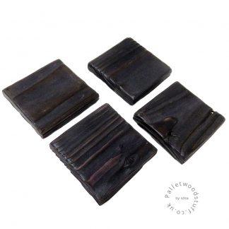 Pallet Wood Coaster 12 | Shou Sugi Ban | Black