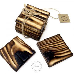 Pallet Wood Coaster 13 | Shou Sugi Ban | Natural