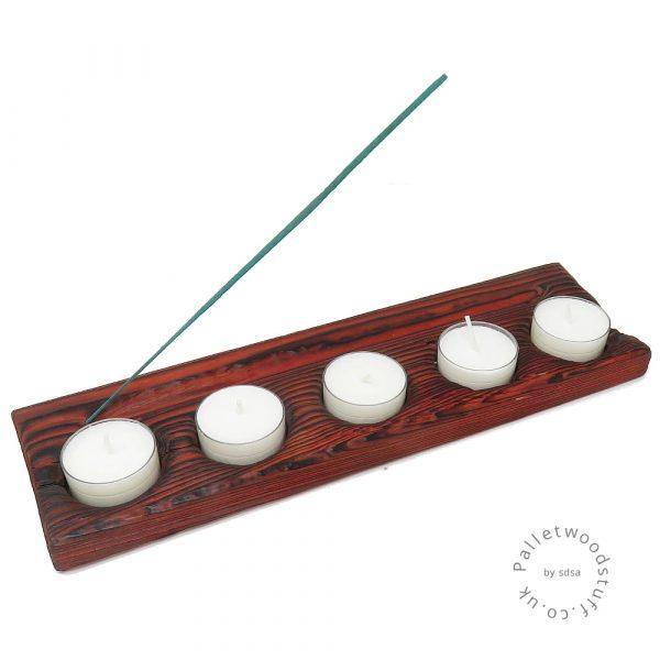 Pallet Wood Tealight & Incense Burner 02 | Ruby