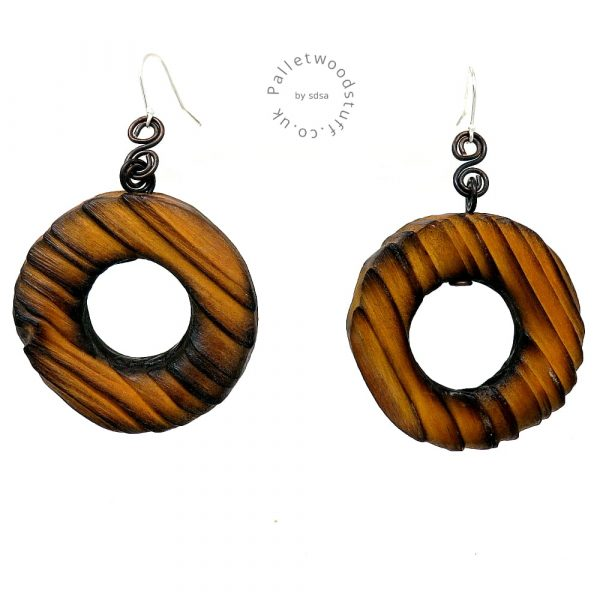 Rustic Wooden Earrings - Honey