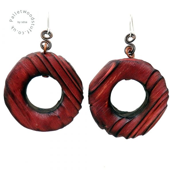 Rustic Wooden Earrings - Ruby | Shou Sugi Ban on Palletwood