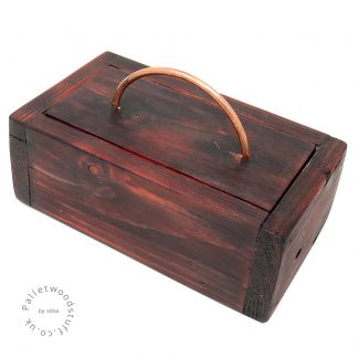 Small Dyed Pallet Wood Box FLAME 01 | Copper Handle