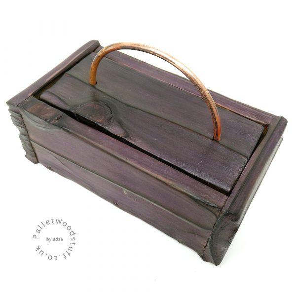 Small Shou Sugi Ban Box Plum 01 | Copper Handle