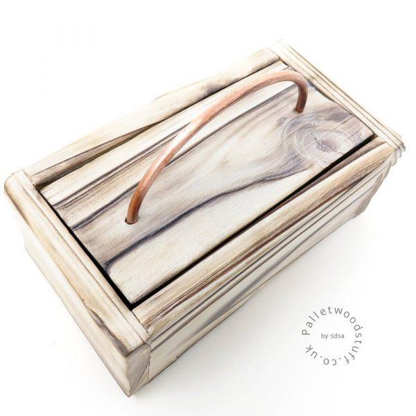 Small Shou Sugi Ban Box White 01 | Copper Handle